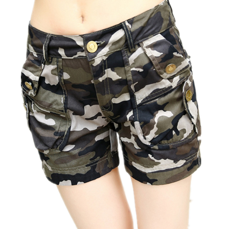 Global Lege Store 636439 Summer Army Green Cargo Trousers Shorts For Women Sexy Camouflage Shorts ladies Rivet Plus Size Jeans Shorts