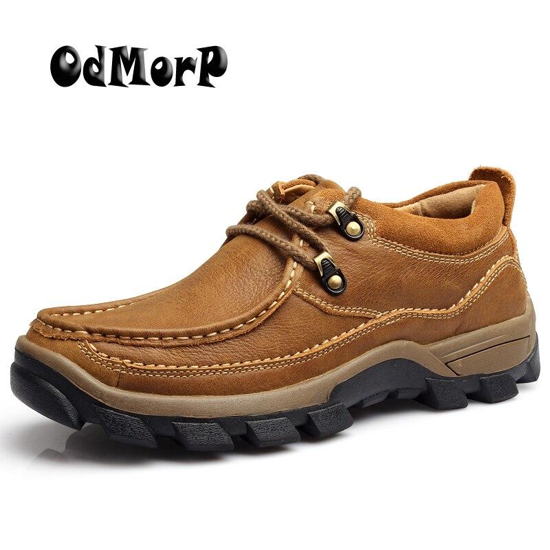 Chaussures Brun de ODMORP Hommes Occasionnels En Cuir Véritable Chaussures Automne Dentelle Up Haute Qualité Plate-Forme Chaussures Non-slip En Caoutchouc taille 38-44