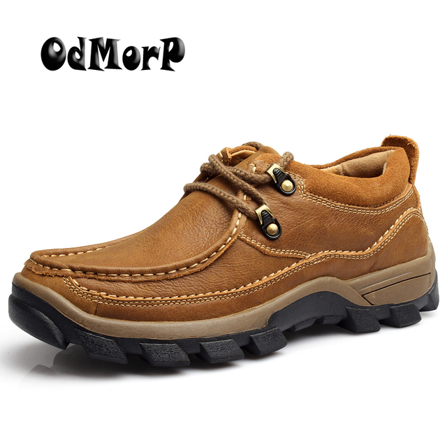 ODMORP Men's Shoes Brown Casual Genuine Leather Shoes Autumn Lace Up High Quality Platform Footwear Non-slip Rubber Size 38-44