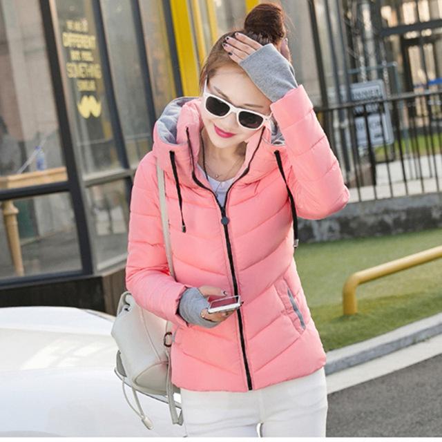 2016 Top Fashion Sólida Sem Zíper Completo 100% a Ucrânia A nova Moda Inverno Slim Gola do Casaco Para Baixo Acolchoado Casaco Feminino estudantes