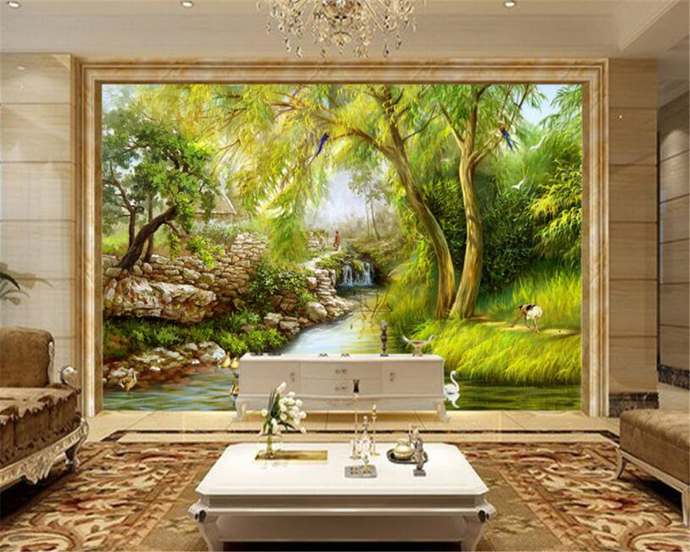 beibehang Large wallpaper riverside weeping willow Landscape hand ...