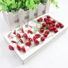 10 шт./лот, искусственные мини-фрукты из пластика, маленькие ягоды, искусственные цветы, красная вишня, тычинка, перламутровые, свадебные, рождественские, декоративные