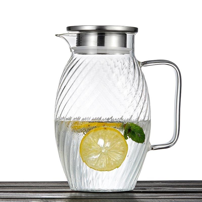 1500 ml style japonais marteau motif verre bouteille d'eau haute capacité jus de fruits lait café bouilloire résistant à la chaleur citron théière - 4
