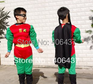 Free shipping muscutarity Muscle Robin  halloween costume for Boys kids party cosplay
