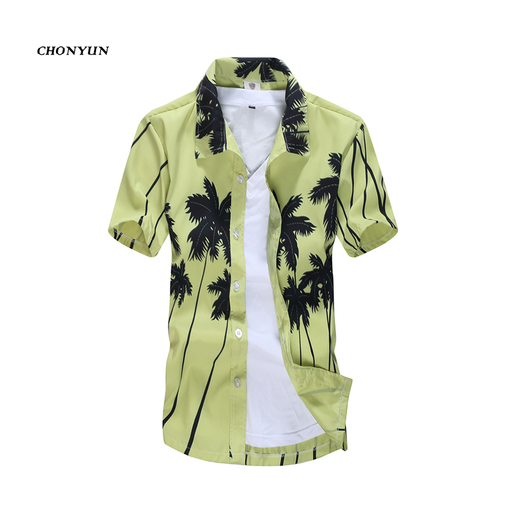 Summer Style Brand Hawaiian Men's Hawaii Beach Shirt Chemise Homme Coconut Palm Prints Loose Casual Shirts Asian Size L-5XL