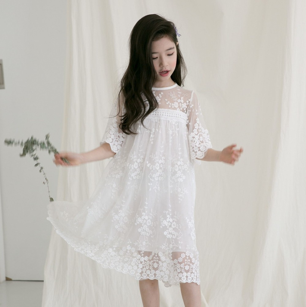 lace toddler girl party dress white princess dress with sleeve a line teenage long summer flower girls dresses clothing 2018 ems dhl free shipping toddler little girl s 2017 princess ruffles layers sleeveless lace dress summer style suspender