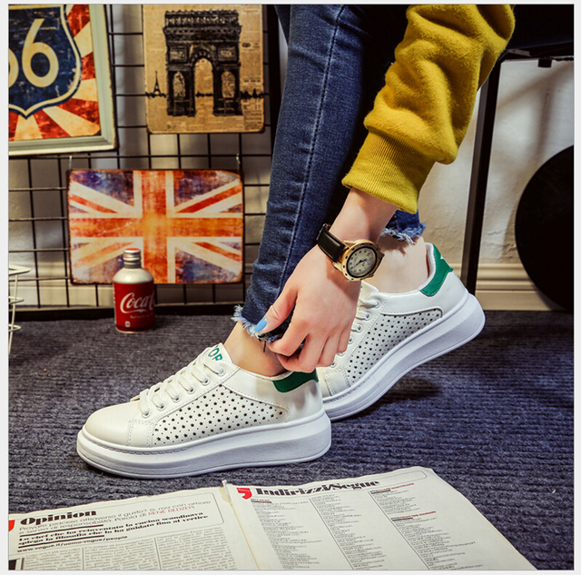 Free Shipping 2017 New Fashion Spring Shoes Woman Breathable White Green Shoes Casual Shoes for Woman zapatos mujer