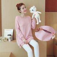 Warm   Maternity   Nursing Shirt Clothes for Pregnant Women Pregnancy Breastfeeding Feeding Tops   maternity   Nursing sweater Outfit
