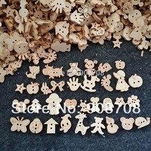 W0125 смешанные узоры натуральный цвет деревянные пуговицы ручной работы аксессуар 200 шт./лот