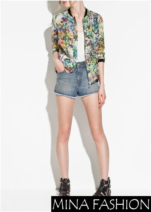 NEW WOMENS CHIC CONTRAST TRIM LONG SLEEVE FLORAL PRINTS ZIPPER COAT JACKET 3251890 Freeshipping
