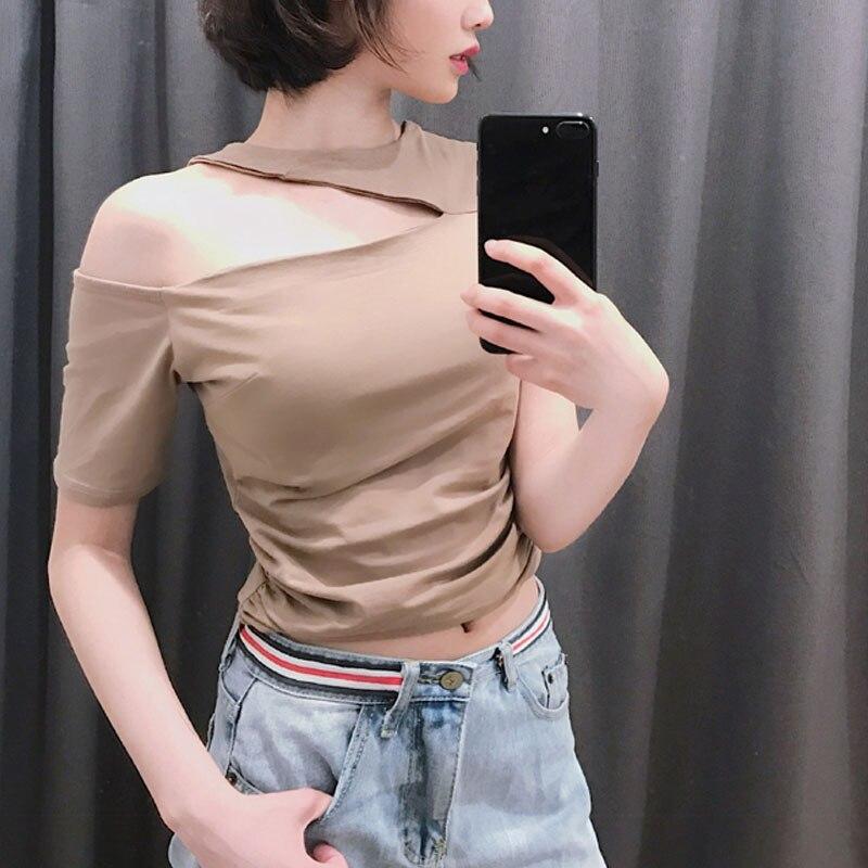Sexy short sleeve t-shirt halter summer crop tops women solid black khaki short t shirt female skinny tees slim off shoulder new