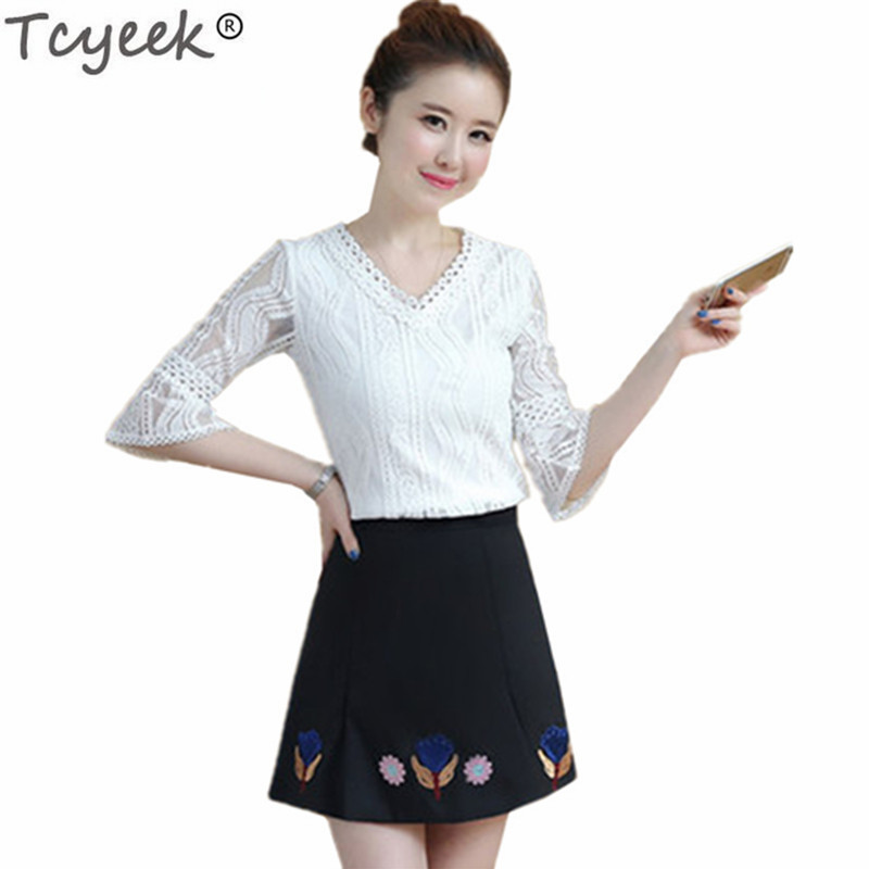 Tcyeek 2018 Fashion Summer Costumes for Women Suit Skirts and Blouse Female Sweet Two Piece Set Ladies Elegant Clothing LWL439