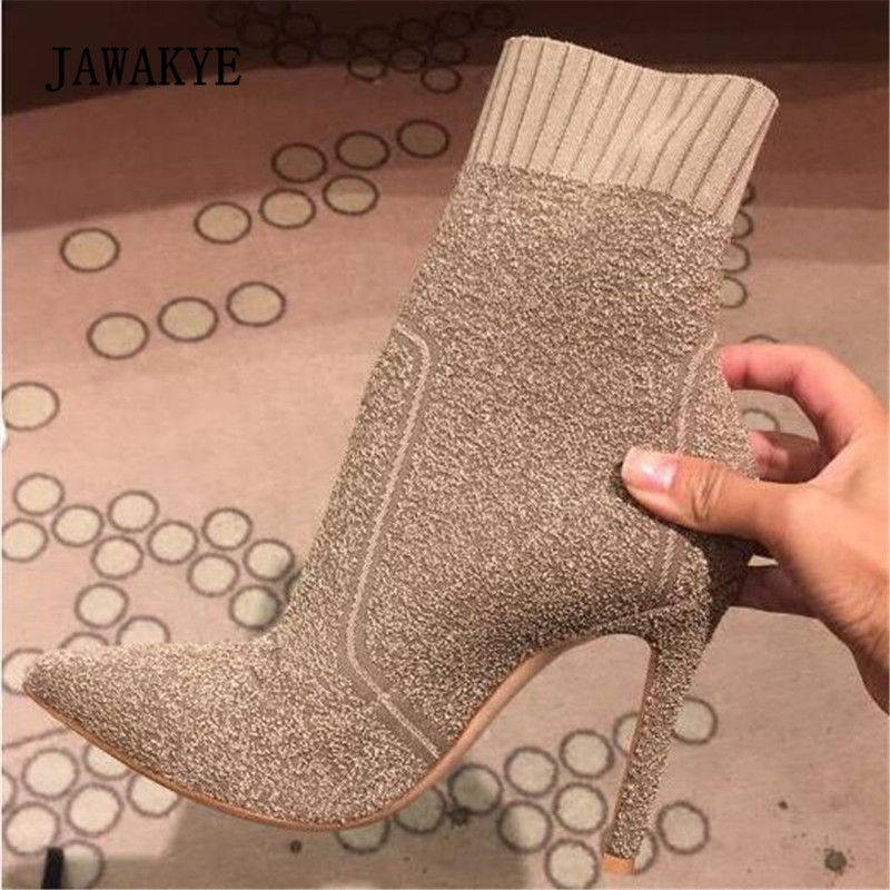 Jawakye Stretch Knitted Sock Booties Woman Pointed Toe Thin High Heels Ankle Boots For Women Shoes цена 2017