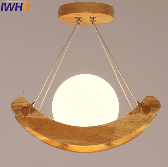 IWHD Nordic Style Wood Modern Pendant Lights Creative Glass Ball LED Hanging Lamp Home Lighting FixtureS Lampara Iluminacion nordic modern wood glass pendant lights simple art coffee restaurant hanging lamp living bedroom pendant lamp for home lighting