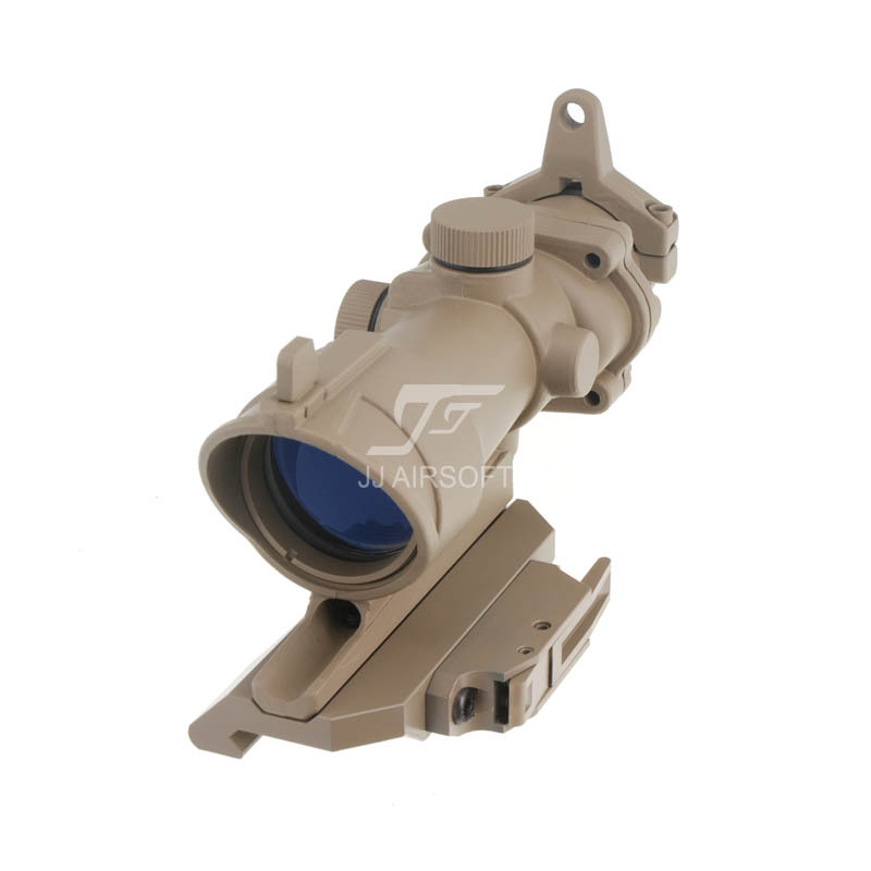 JJ Airsoft ACOG Style 4x32 Scope , AC12033 Bobro Style Quick Release / QD Mount (Tan)