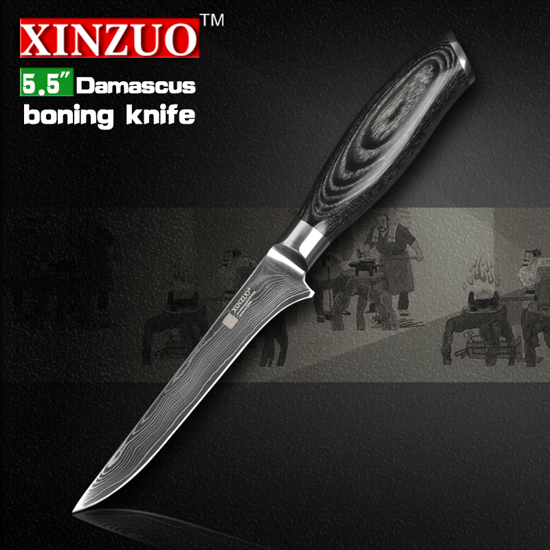 2016 XINZUO 5 5 inch boning font b knife b font Damascus kitchen font b knives