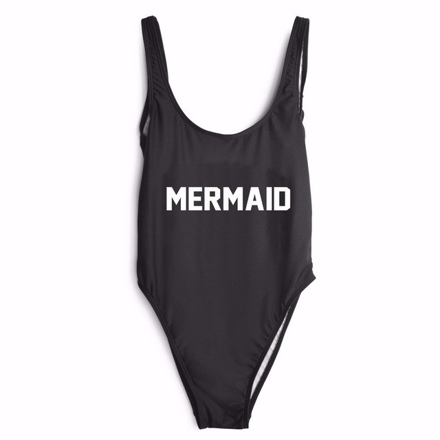 MERMAID Letter printed Jumpsuits Sexy low back Slim Skinny Bodysuit for Ladies Fashion Newest Design Female Sleeveless Rompers