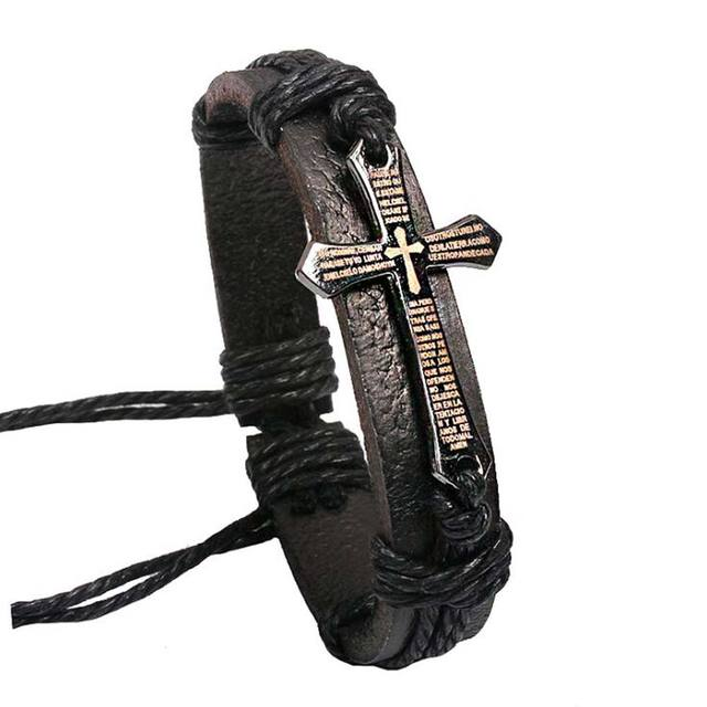 FAMSHIN New Hot Handmade Braid Genuine Leather bracelet Wrap Charm Cross Bracelets