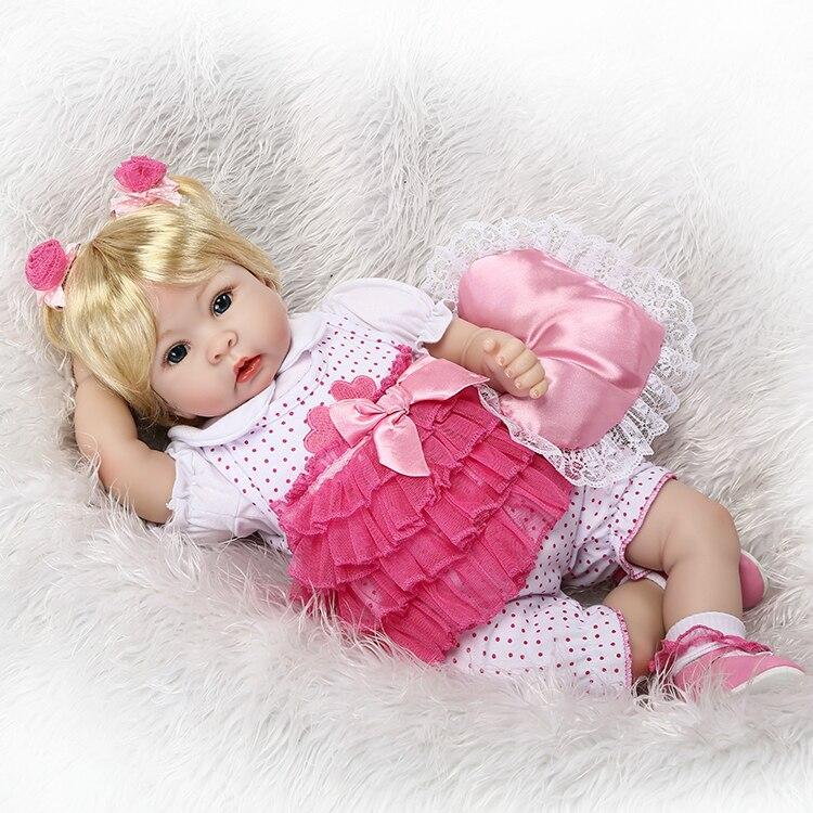 55 cm Silicone Reborn Bébé Poupée Jouets Simulation Vinyle Princesse Poupées Haut de gamme Filles D'anniversaire Cadeau Présent Jeu Maison coucher Jouet