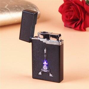 Image 2 - Briquet LED Compact, Jet en Butane, accessoires de torche, allume cigare, coupe vent, gaz 1300 C