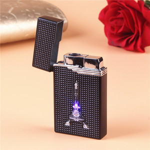 Image 2 - LED Compact Butane Jet Lighter Torch Lighter Turbo Gas Lighter Cigarette Accessories Gas 1300 C Metal Windproof Cigar Lighters
