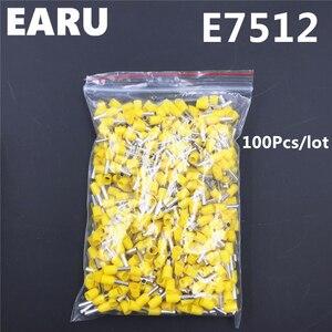 100 шт. E7512 изоляционный терминал 0.75MM2 20AWG Кабельный соединитель изоляционный обжимной E черный желтый синий красный