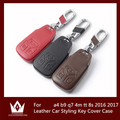 Top Layer Leather Car Styling Key Case For audi a4 b9 q7 4m tt 8s Auto Accessories 2016 2017