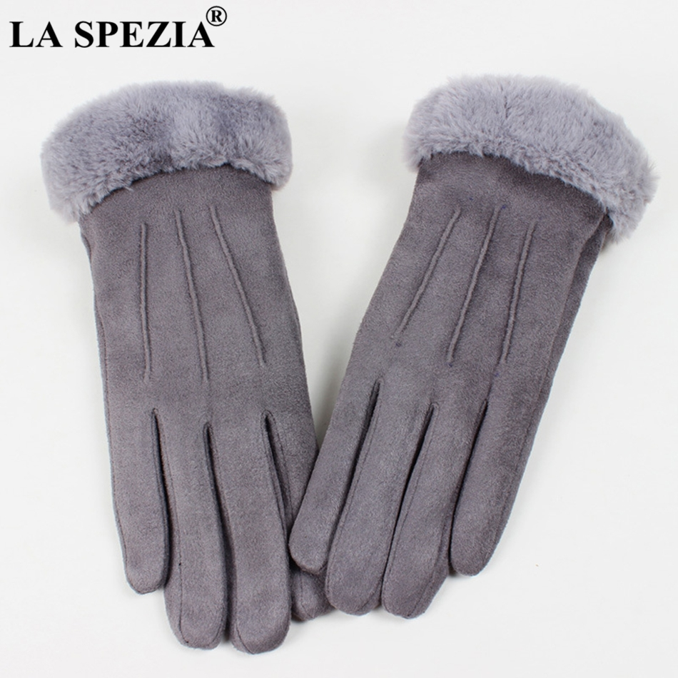 LA SPEZIA Winter Gloves Women Pink Gloves Suede Leather Warm Gloves With Fur Ladies Biker Driving Touch Screen Mittens Gray 2019