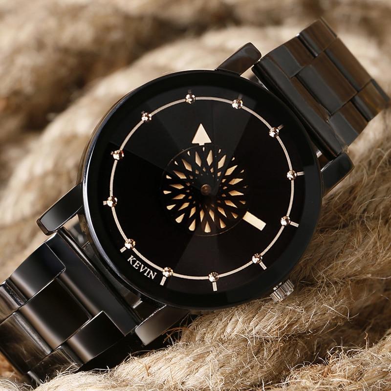 Луксузни КЕВИН Турнтабле ручни сатови мушки нехрђајући челик црни кварцни сатови женски спорт цасуал сат Релогио Феминино