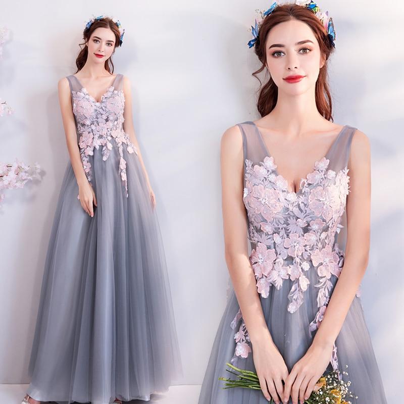 SOCCI Weekend elegante v-hals galajurk 2018 nieuwe grijs roze - Jurken voor bijzondere gelegenheden - Foto 2