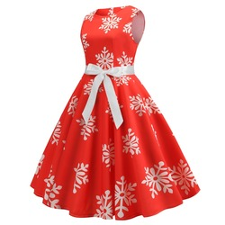 Blue Women Dress 2019 Christmas Casual Snowflake Pinup Vestidos Party Dresses Retro Vintage 50s 60s Robe Femme Rockabilly Swing 4