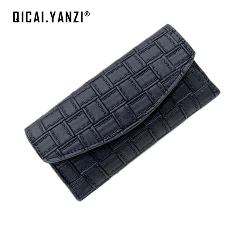 QICAI.YANZI 100% Top PU Long Women Wallet Fashion Casual Handbag Knit Folded Card Holder Bag Female Ladies Wallet Purse P300 casual weaving design card holder handbag hasp wallet for women