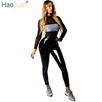 HAOYUAN Two Piece Set Women Clothes Reflective Mesh Top+Black Pu Leather Pants Sweat Suit Sexy Club Outfits 2 Pcs Matching Sets