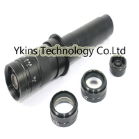 10X~300X Adjustable Magnification 25mm Zoom C mount Lens with 0.5X/2.0X /2.5X Barlow Auxiliary Lens FOR 10A Microscope