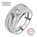 Luxury Solid 925 Sterling Silver Bridal Wedding Ring Set Anniversary Vintage Style 1 Carat CZ Diamond Engagement Ring Set JZR148