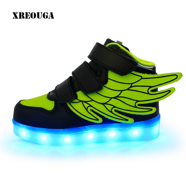 76e1a5651fed New Fashion Winged High Top Luminous Sneakers USB Charging Led Children  Shoes With Light Up Kids Boys Girls Glowing Shoe ZN01