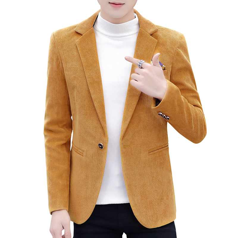 Velvet Suit Men's Thicker Regular Single Button Suit Casual Red Yellow Black Jacket Men Blazers