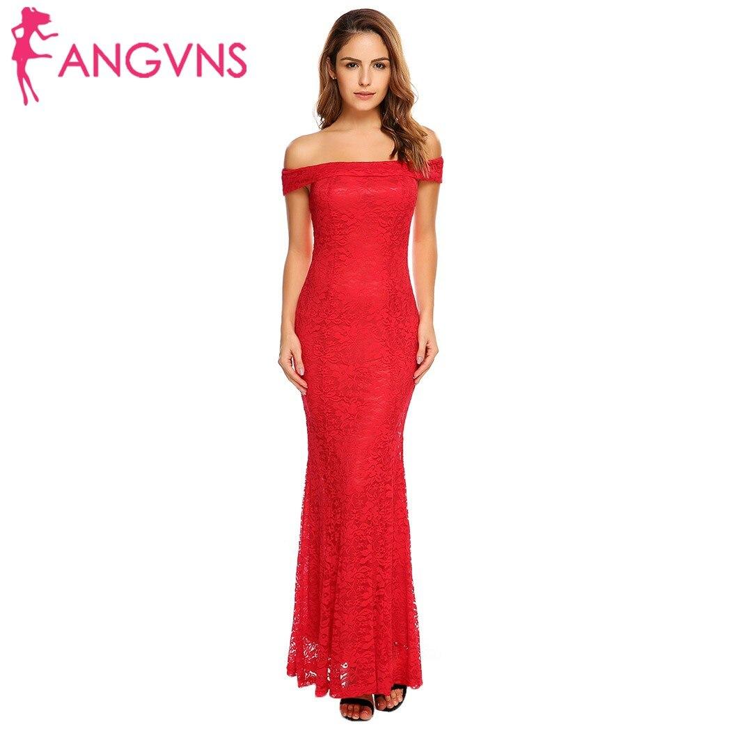 ANGVNS Elegant Women Slash Neck Long Mermaid Dress Sleeveless Floral Lace  Off Shoulder Fishtail Dresses Gowns Evening Vestidos-in Dresses from Women s  ... b386b8afec57