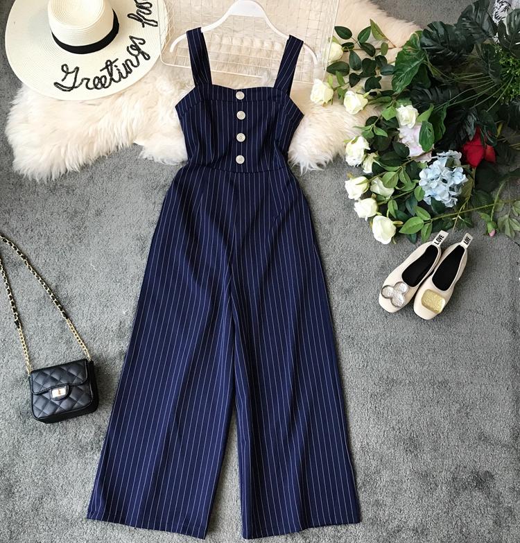 2019 Spring and Summer Korean New Stripe High Waist Open-back Jumpsuit Women Sleeveless Broad-legged Overalls G794 35