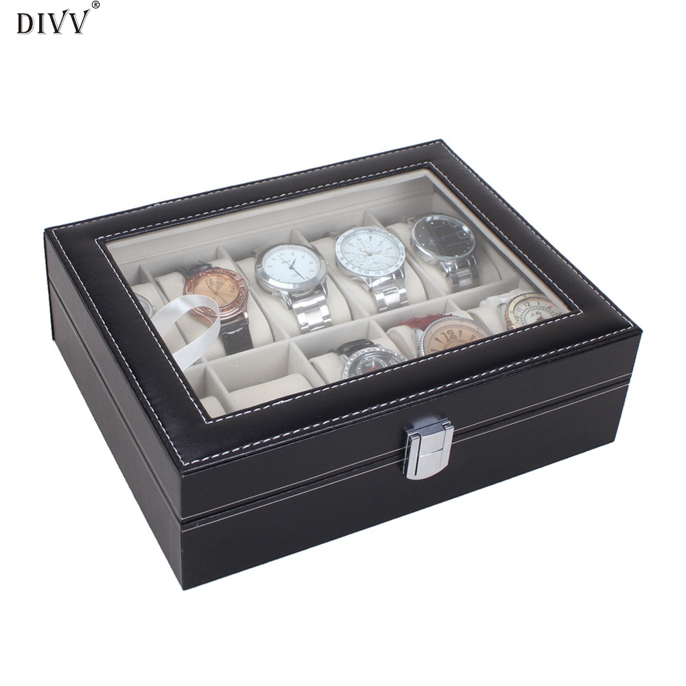 DIVV Happy home Household Box Home Storage Organization Leather 10 Slots Wrist Watch Display Box Storage Holder Organizer Case