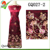 2017 GQ026 Queency Curious Raw Silk Embroidery George African Fabric Wholesale From India For 5 Yards
