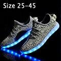 Tamaño 25-45 niños de la manera shoes con luz led up niños chicas chicos brillantes shoes canasta femme zapatillas led luminoso zapatillas