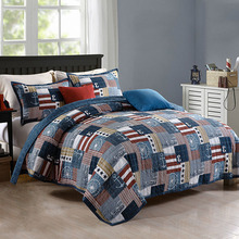 Cotton Bedspread Quilt Set Vintage Printed Europe Coverlet 3 piece Quilts Bed Covers Queen Size Soft 4 pcs Duvet Cover Blue