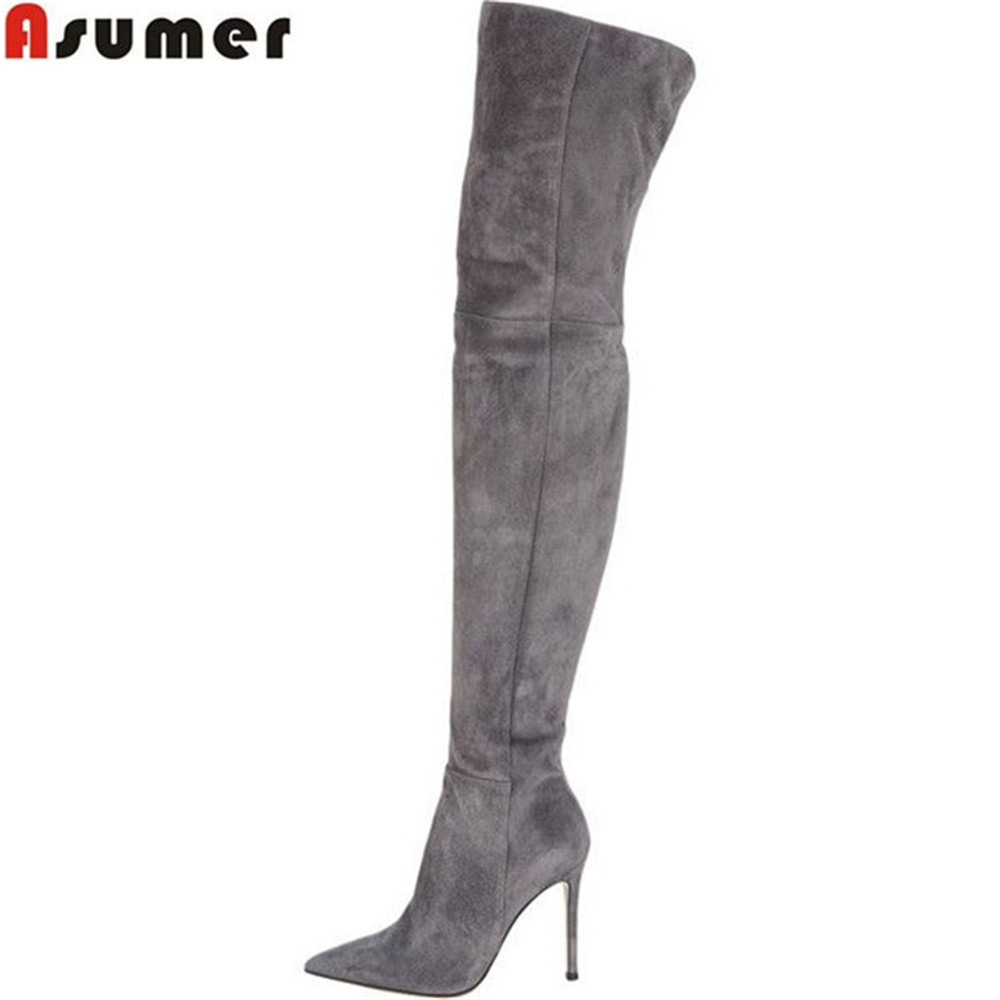 ASUMER black gray fashion women boots pointed toe zipper flock ladies boots thin heel super high sexy over the knee boots игрушка ecx ruckus gray blue ecx00013t1
