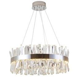 Okrągły wzór nowoczesna kryształowa żyrandol luksusowa jadalnia oświetlenie salonu chromowana lampa LED