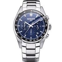 Горячая Прямая поставка 100% полная сталь мужские часы Военные Наручные часы хронограф Модные мужские спортивные часы водонепроницаемые