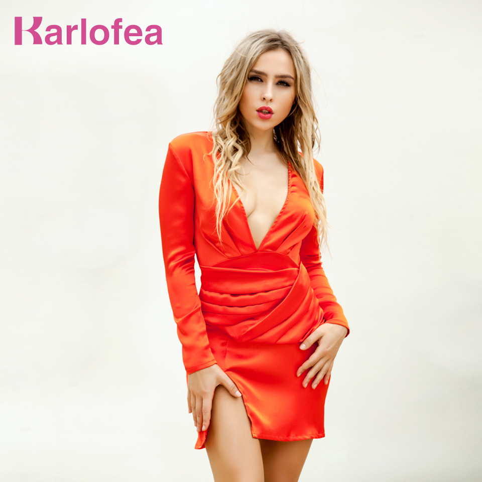 Karlofea High Quality Slim Party Dress Sexy Long Sleeve Deep V Neck Orange Elegant Birthday Cocktail Party Vestidos For Women