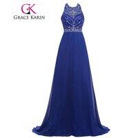 Grace Karin Nouvelle Arrivée Galajurken Bleu Royal Paillettes Longues Robes De Bal Dos Nu Strass Perles Formelle Robes 2017