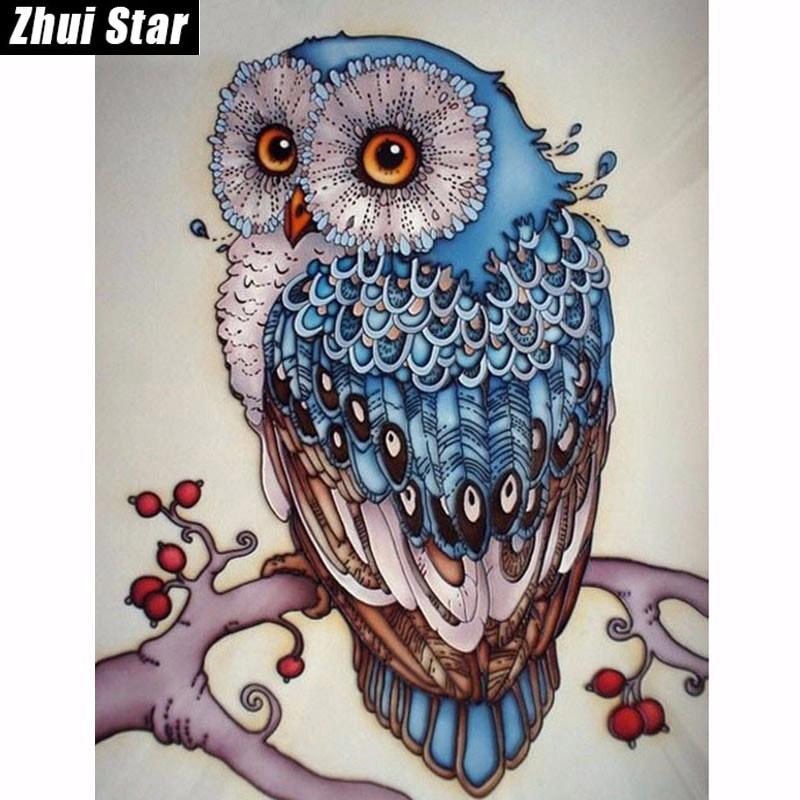 5D DIY diamantové malování karikatura sova křišťálová plná - Umění, řemesla a šití