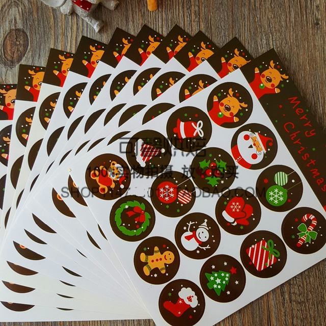 Us 6 88 480pcs Cute Christmas Sticker Label Seal Box Envelope Gift Wrapping Baking Soap Xmas Party Window Door Decoration In Party Diy Decorations